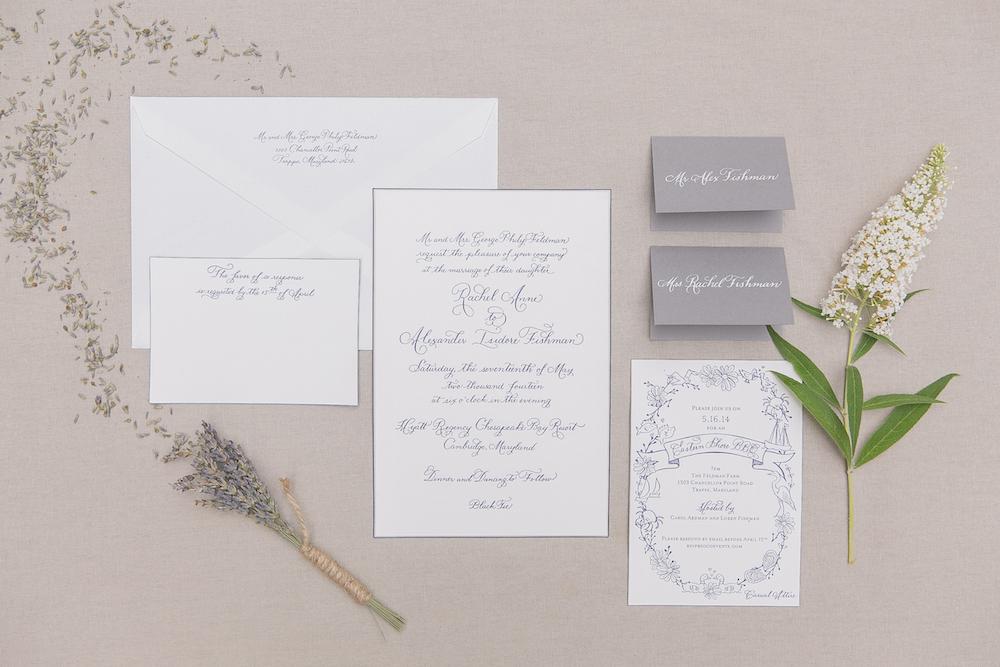 Laura Hooper Calligraphy - Grey Invitation Suite