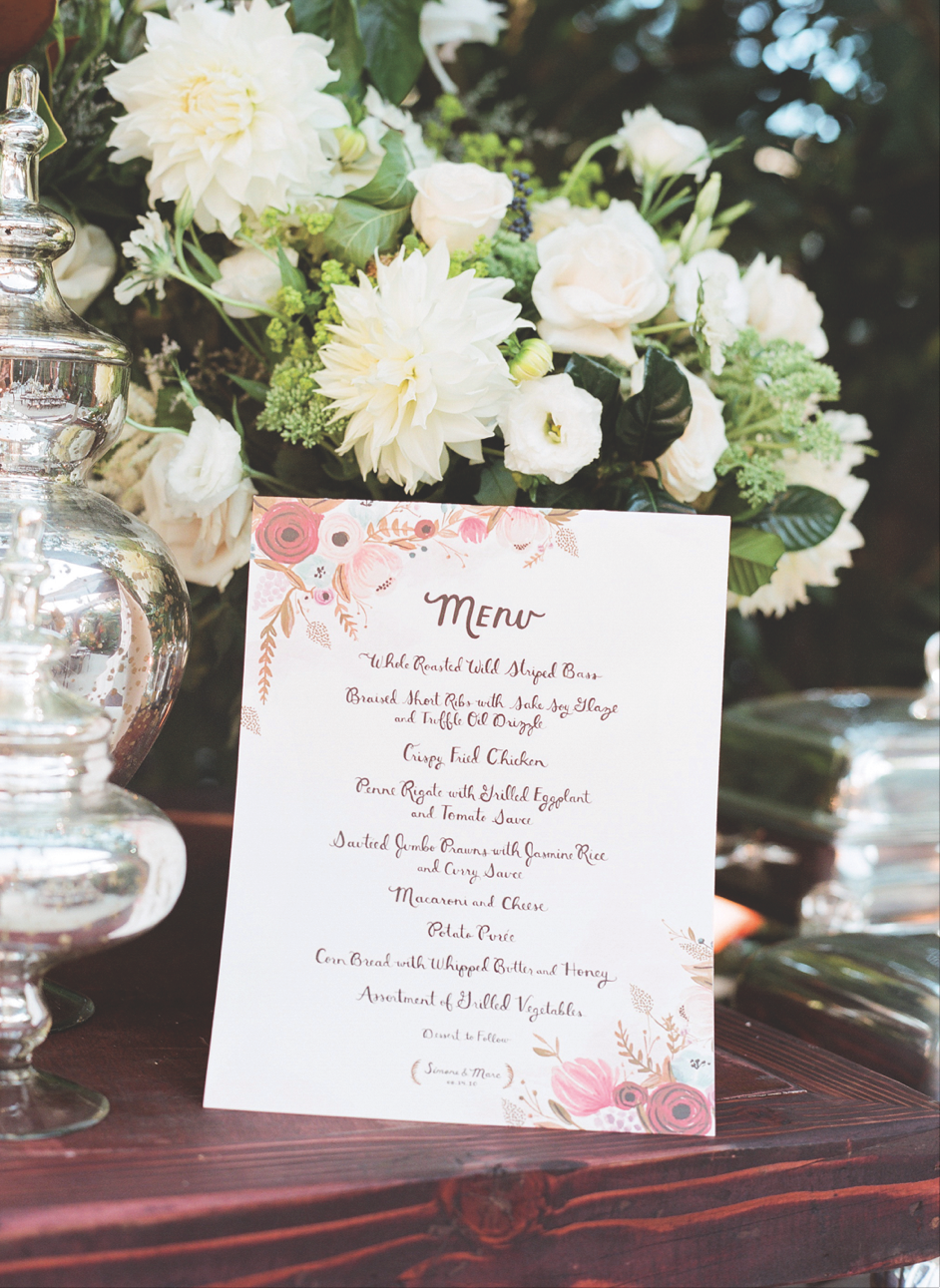 Simone Harouche Wedding Menu
