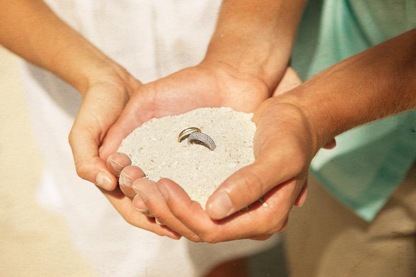 Wedding Rings in Sand at Biras Creek