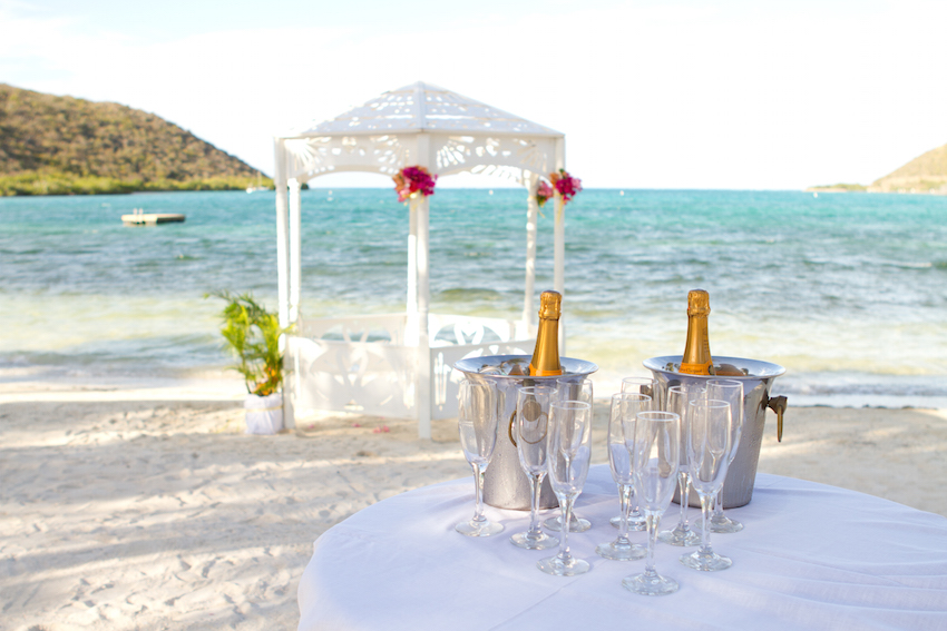 Champagne on Beach at Biras Creek