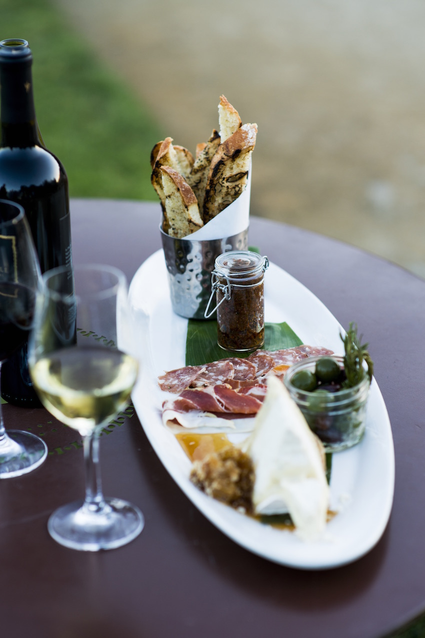Wine and cheese platter at Clos LaChance Winery