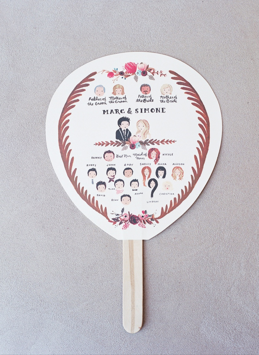 Ceremony Fan with Illustrations of Wedding Party
