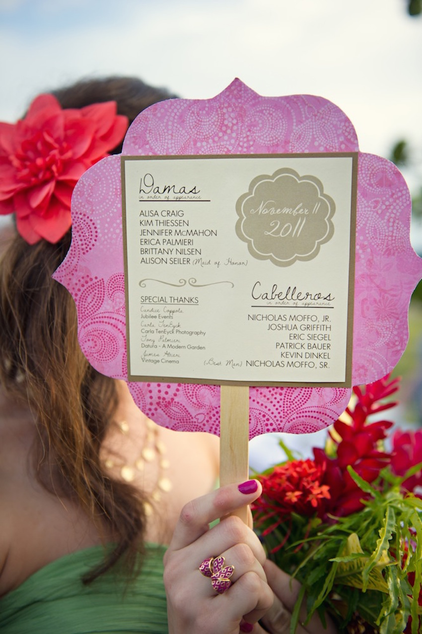 Costa Rica Wedding Die Cut Fan