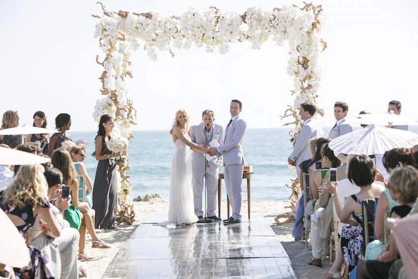 Beach Wedding with Parasols