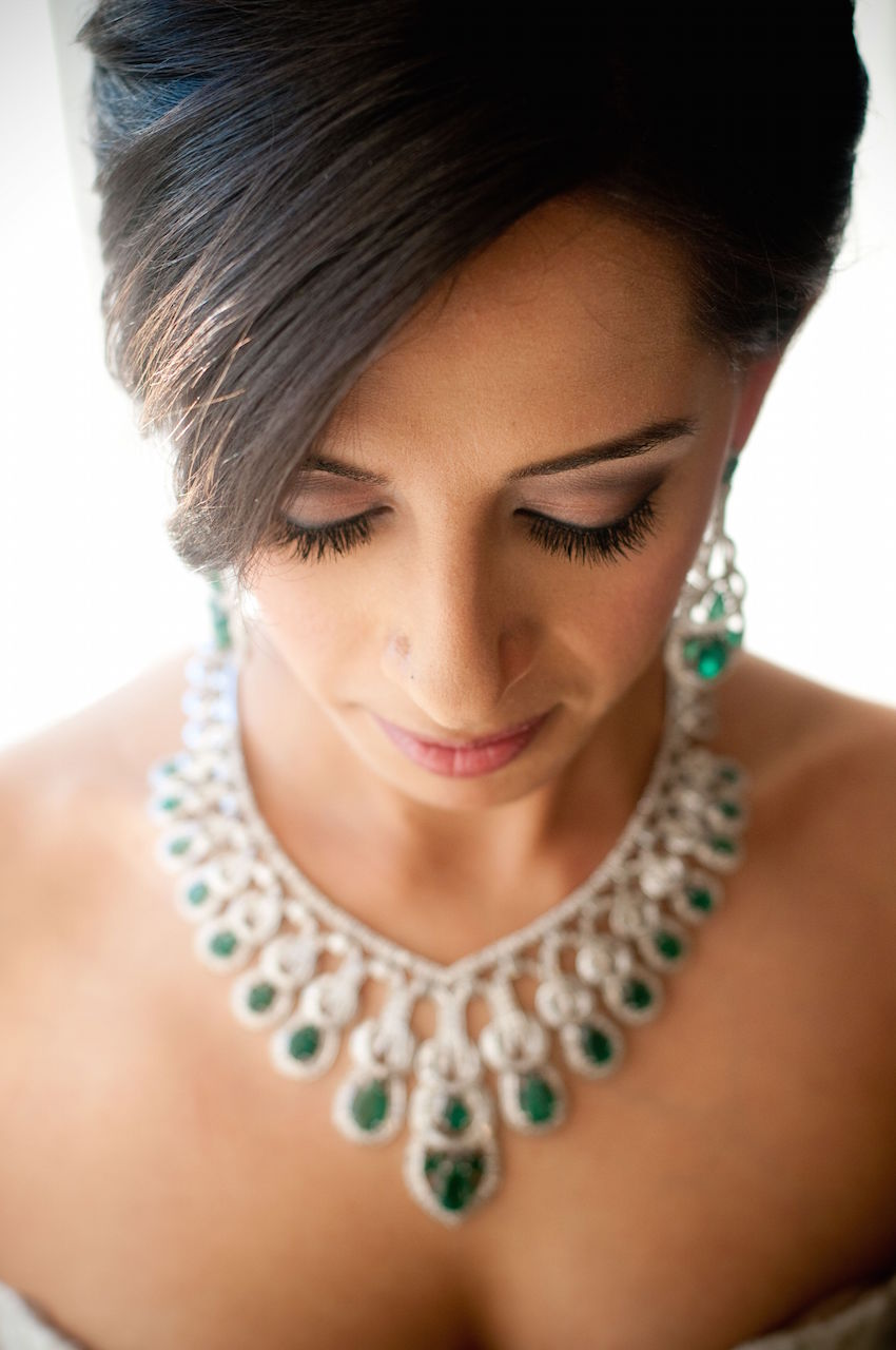 Emerald Earrings and Necklace on Bride