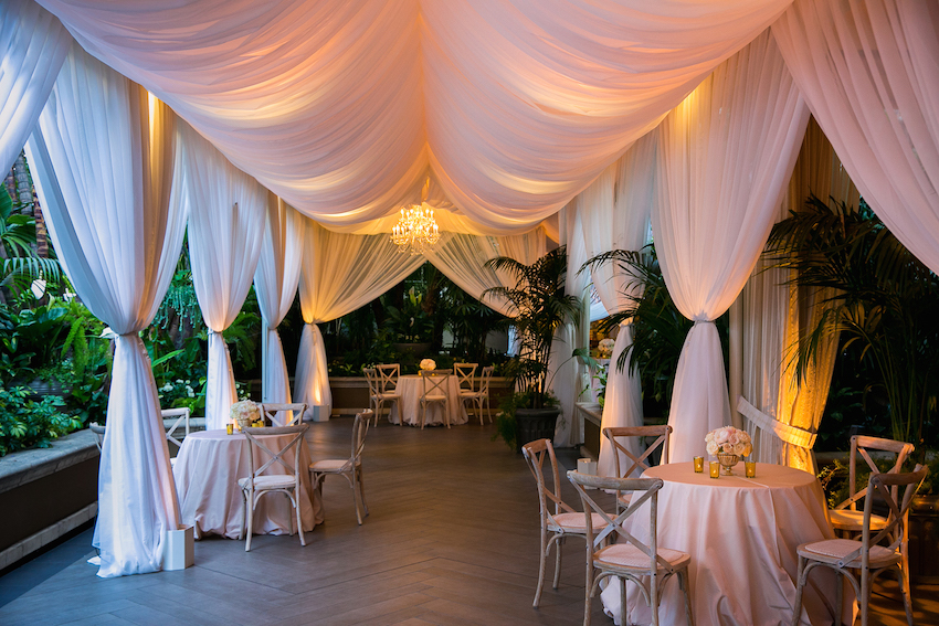 Outdoor Reception Area with Pink Lighting