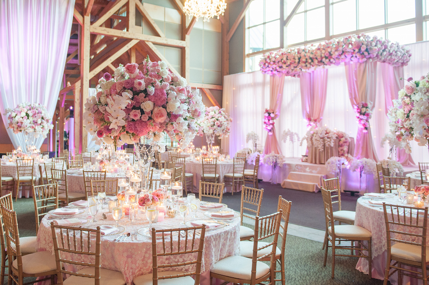 Pink and White Indoor Wedding Reception