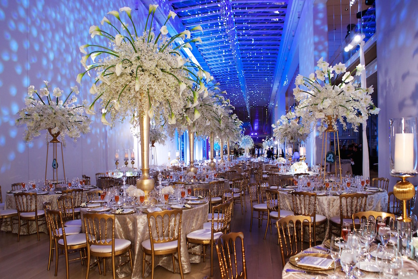 Bright blue wedding reception lighting