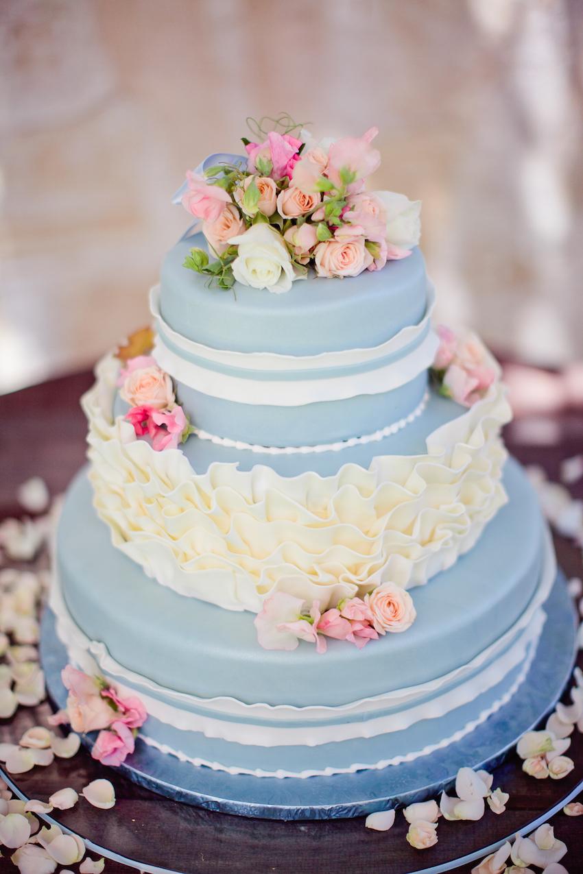 Light Blue Wedding Cake with Ruffles