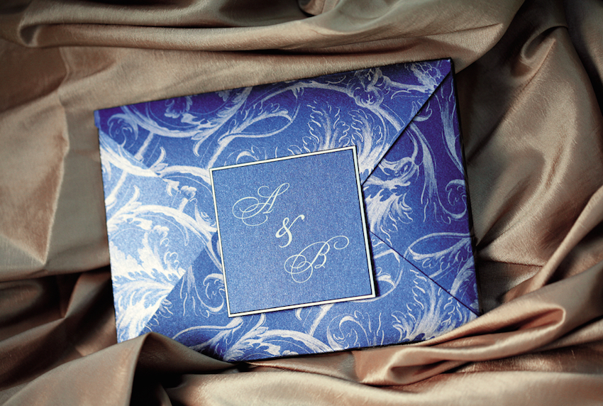French Blue and white wedding invitation