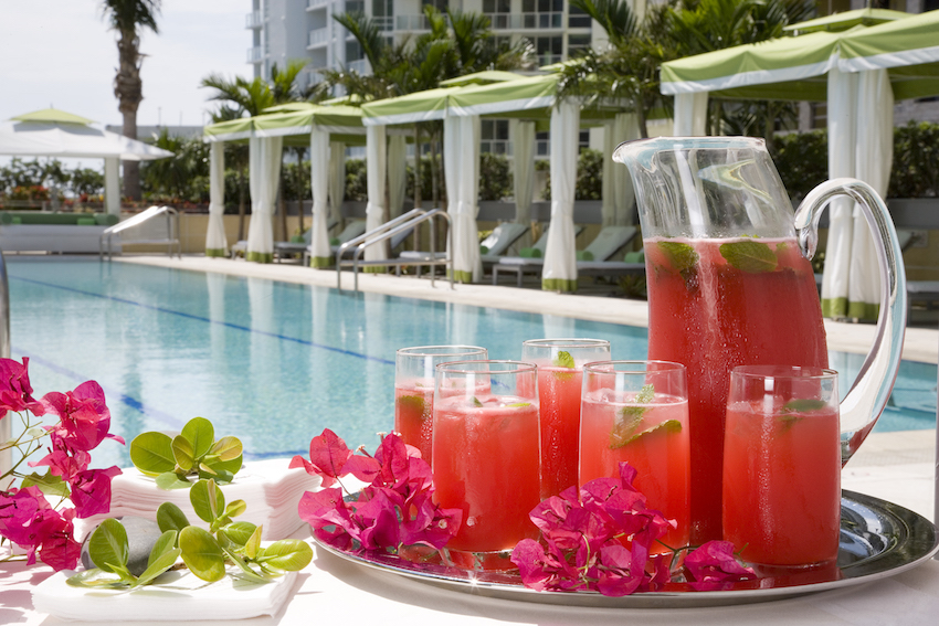 Pool with Drinks at Conrad Miami