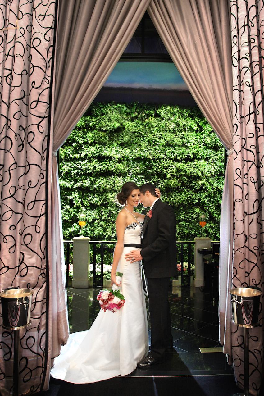 Bride and Groom at Joel Robuchon Restaurant
