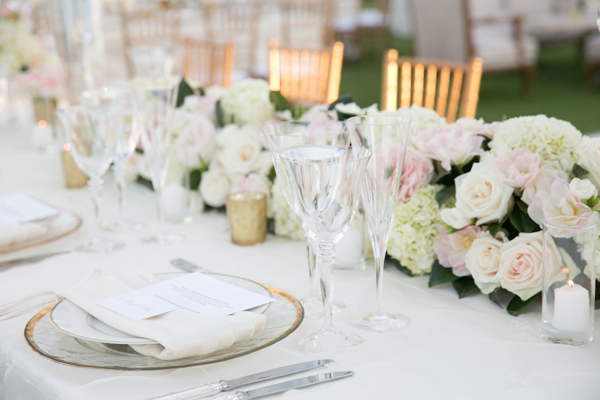 Light colored wedding tablescape
