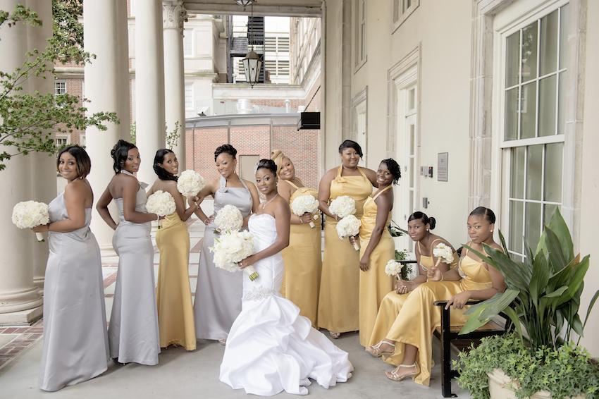 Gold bridesmaid dresses for Atlanta wedding