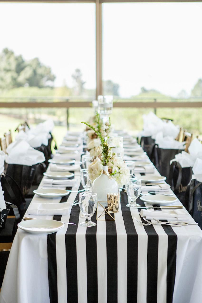 Black and white stripe wedding table runner