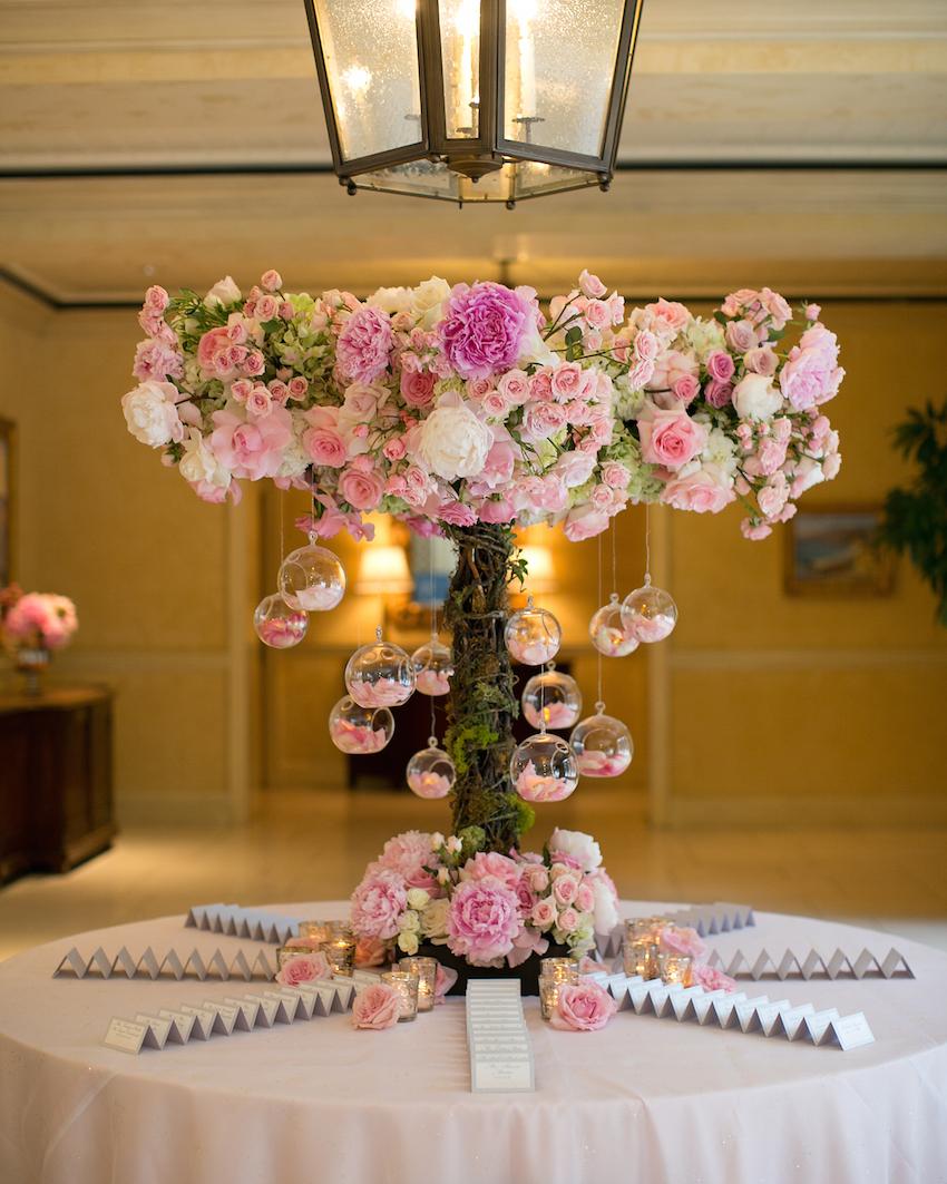 Pink flower escort card table display