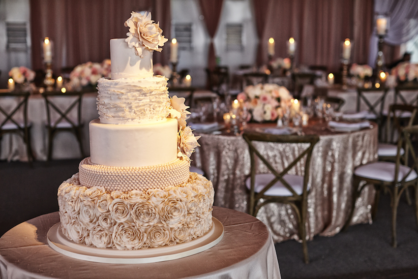 Cream Wedding Cake with Sequin tables