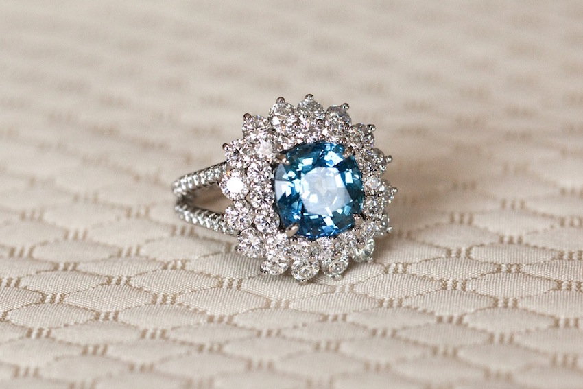 Blue center stone engagement ring