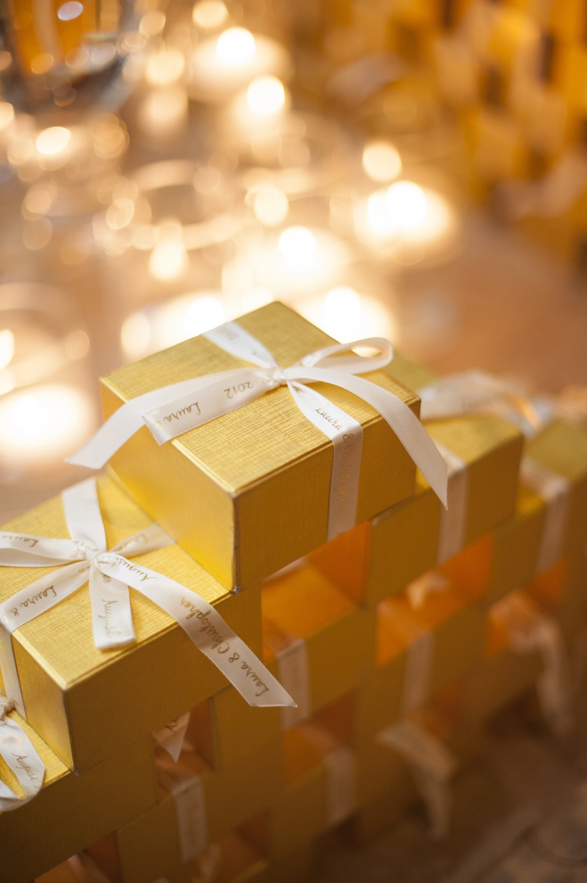 Gold Favor Boxes Packaging with Custom Ribbon