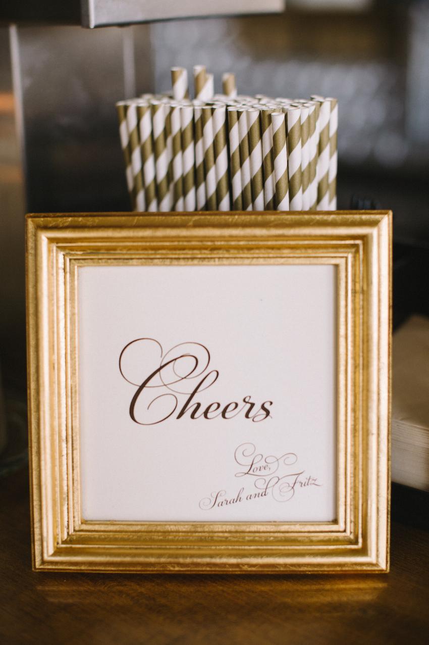 Gold Striped Straws and Menu Frame
