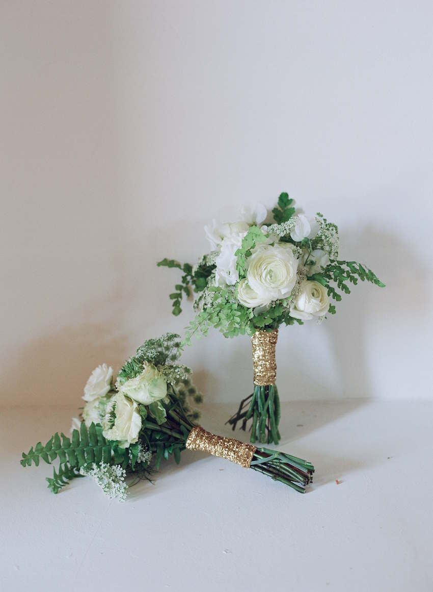 Gold sequin white wedding bouquet wrap