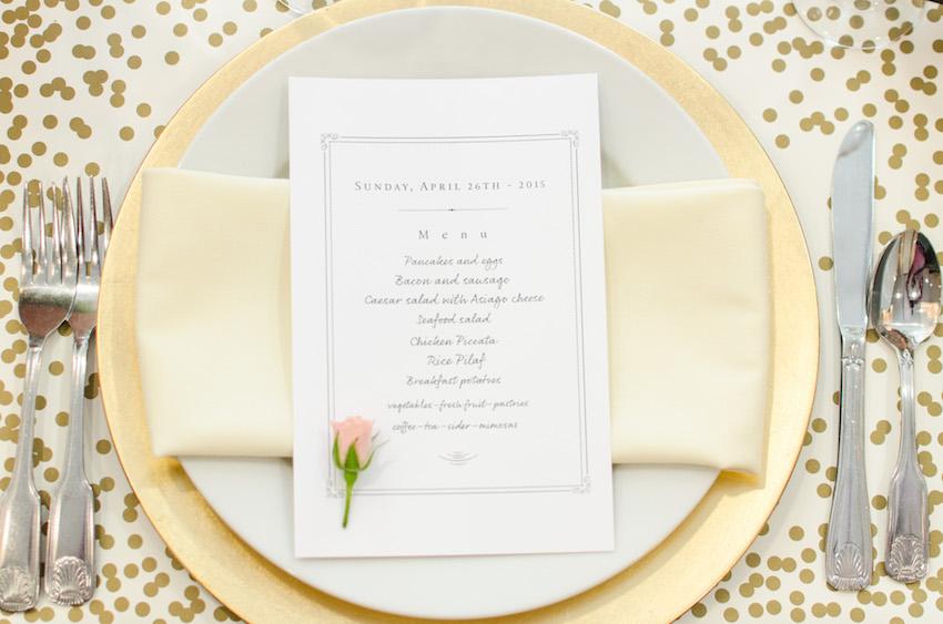 Gold polka dot confetti place mat bridal shower