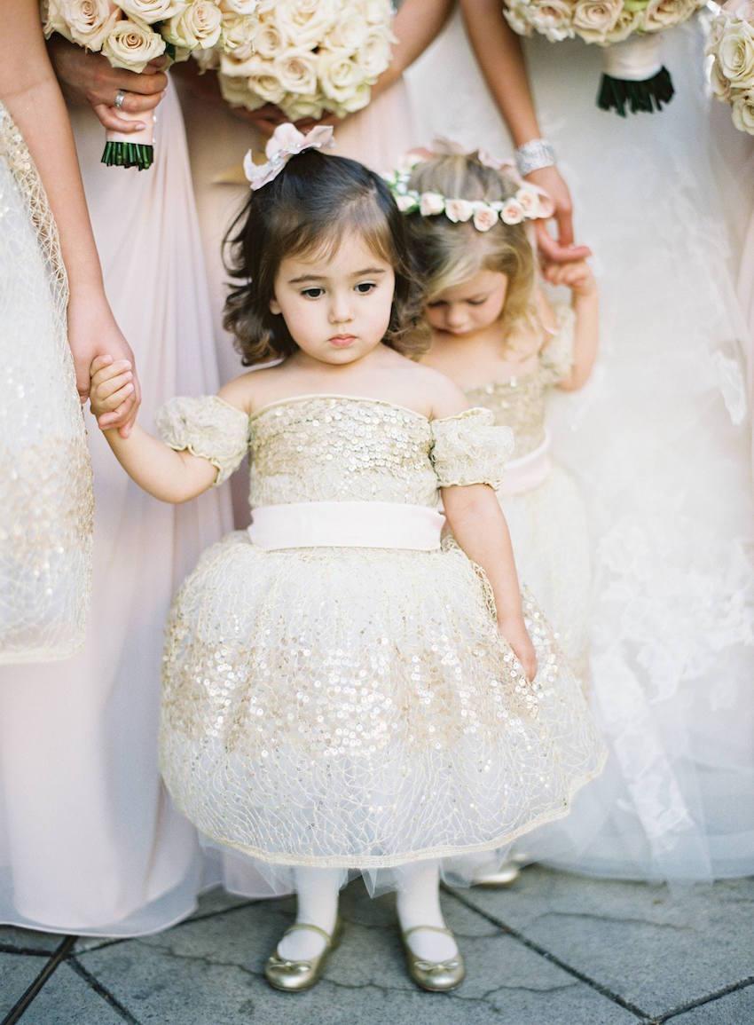 Gold Sequin Flower Girl Dresses