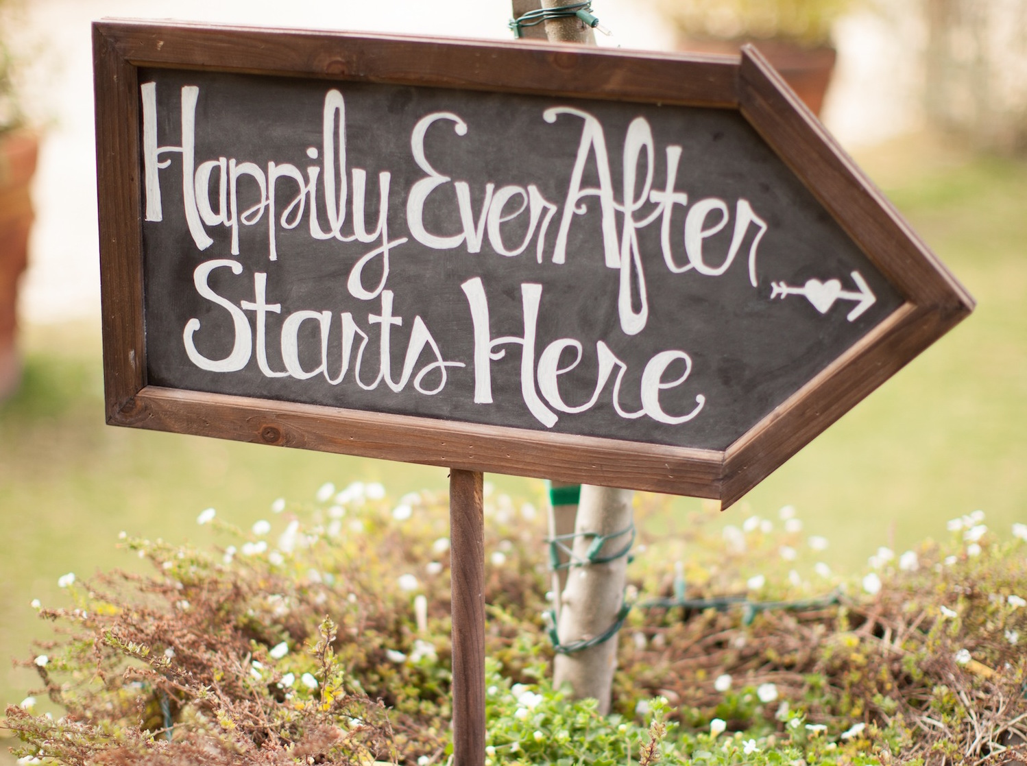 Happily Ever After Starts Here Sign at Wedding