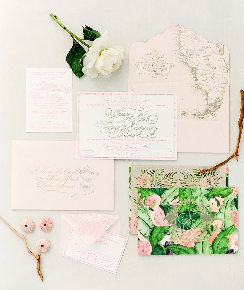 Ceci New York Pink Tropical Wedding Invitation