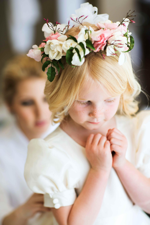 Flower girl in pink flower crown