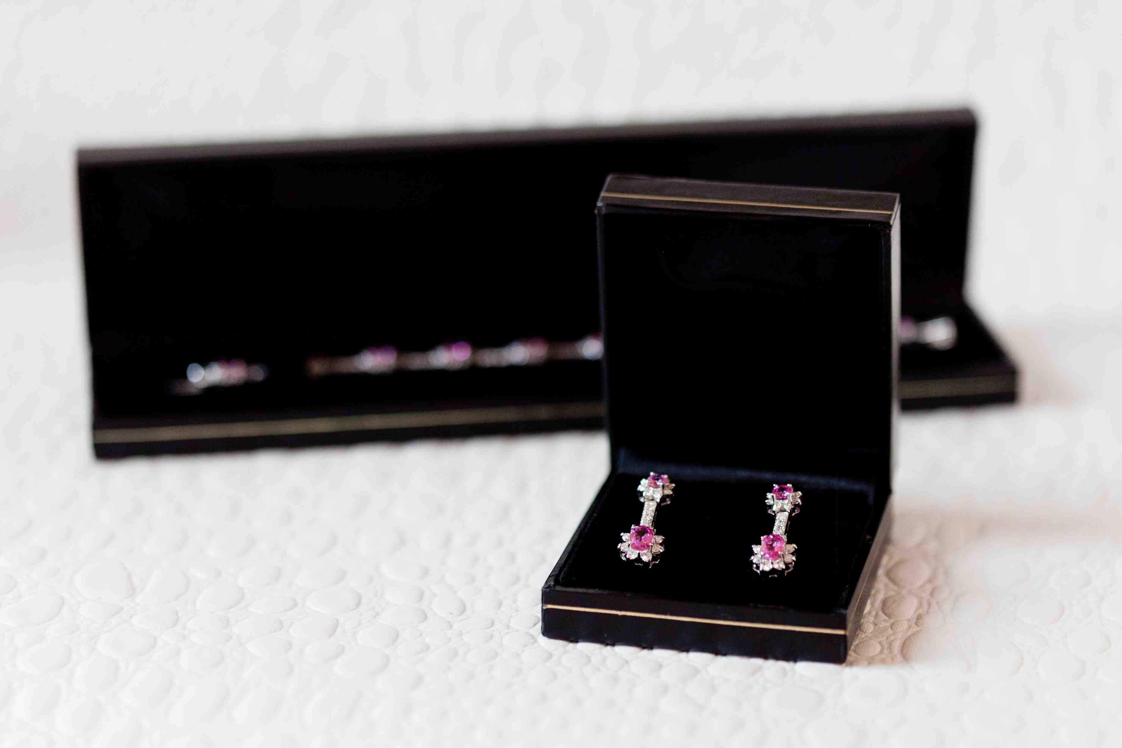 Hot pink earrings and necklace for wedding