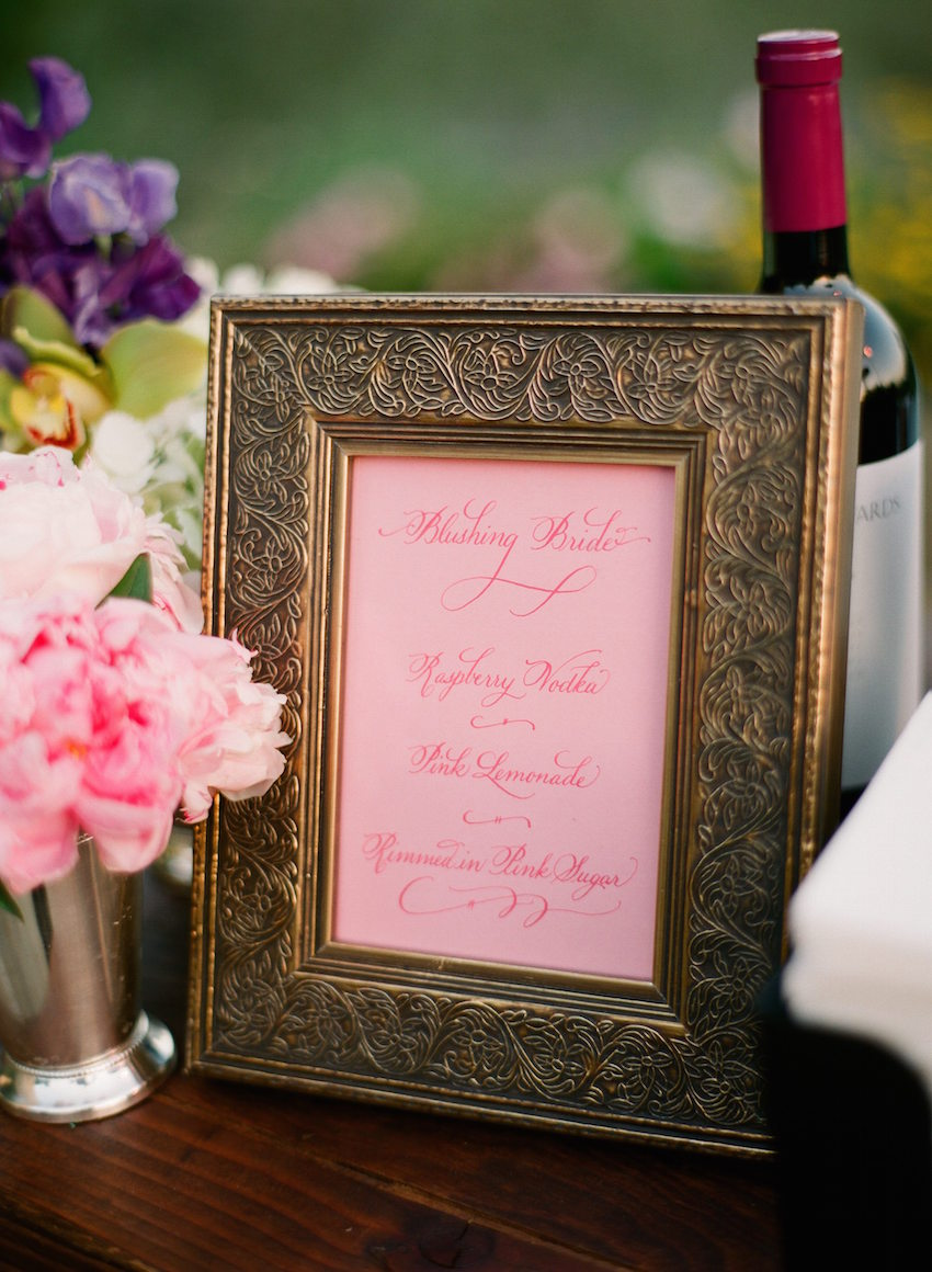 Pink Blushing Bride Wedding Cocktail Menu