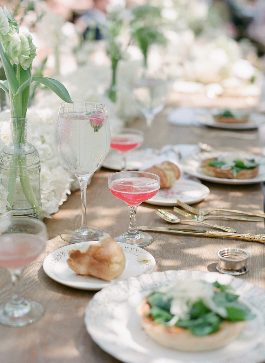 Pink wedding drinks in coupe champagne glass