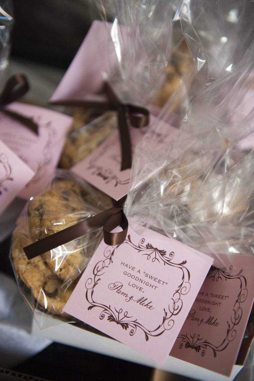 Pink custom tag on chocolate chip cookie favor