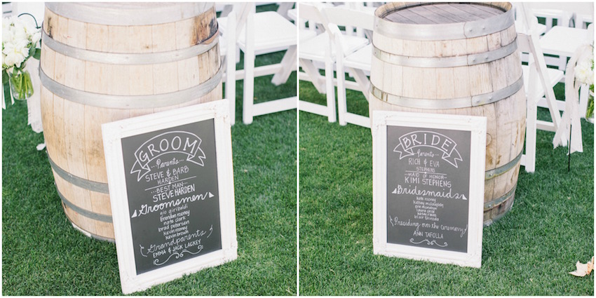 Bride and groom chalkboard wedding signs