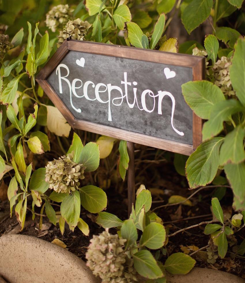 Chalkboard arrow wedding Reception sign