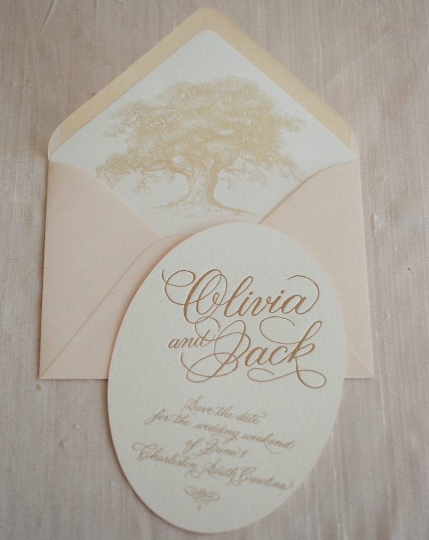 Southern wedding idea invitation oak tree