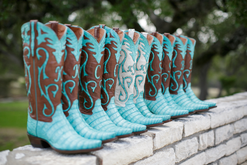 Blue and brown cowboy boots for bridesmaids