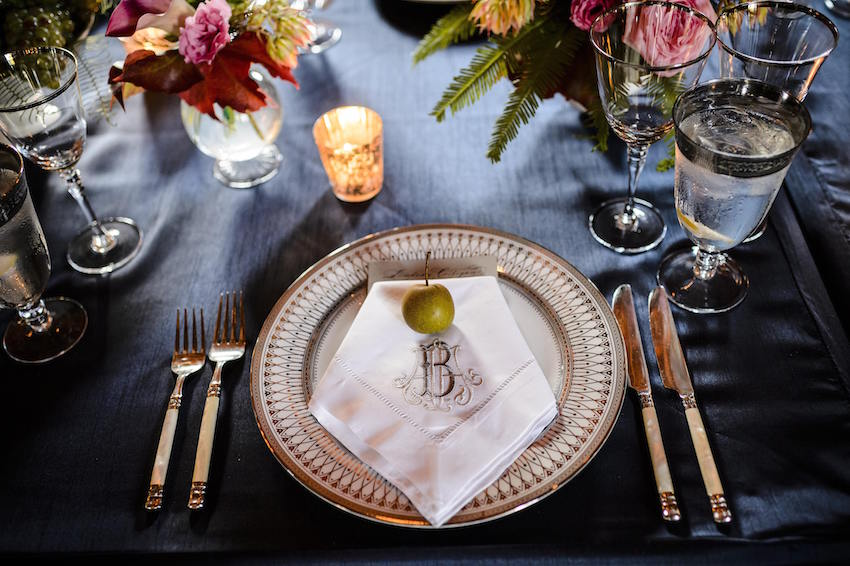 Monogram linen napkin Southern wedding idea