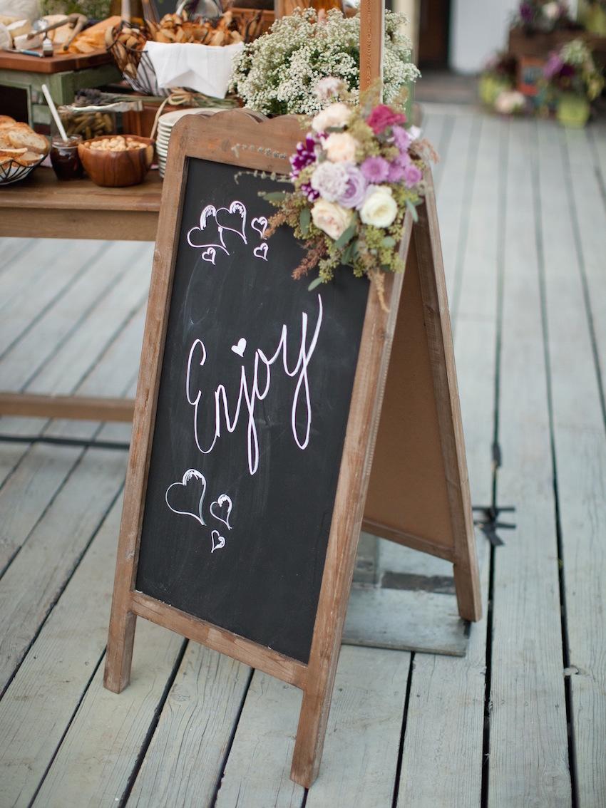 Enjoy chalkboard wedding sign at cocktail hour