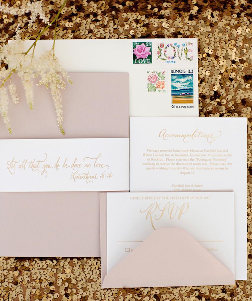 Flower print wedding invitation vintage stamps
