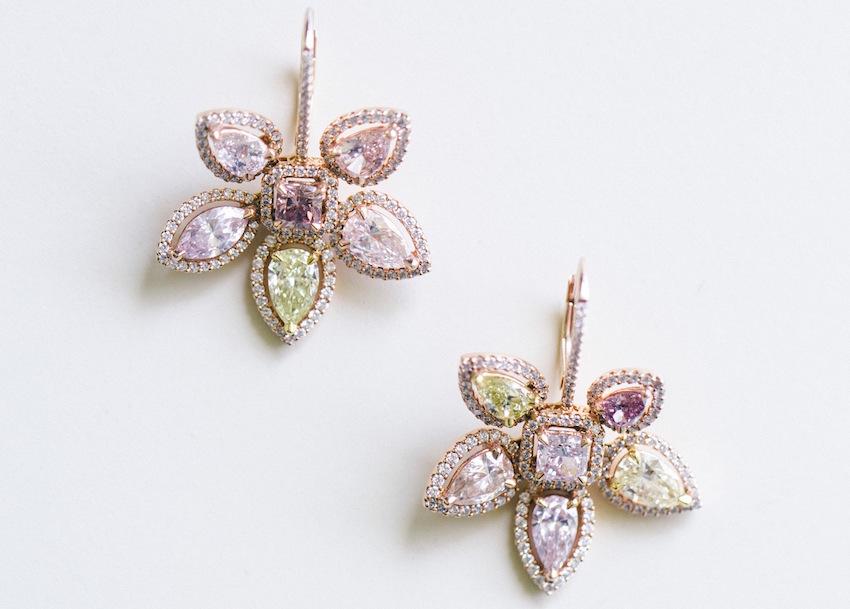 Flower color gemstone wedding jewelry earrings