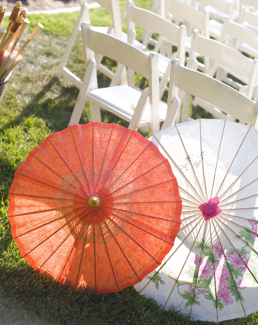 Flower print on parasol at outdoor wedding ceremony