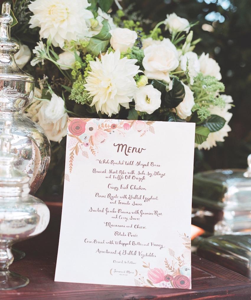 Flower print wedding menu card