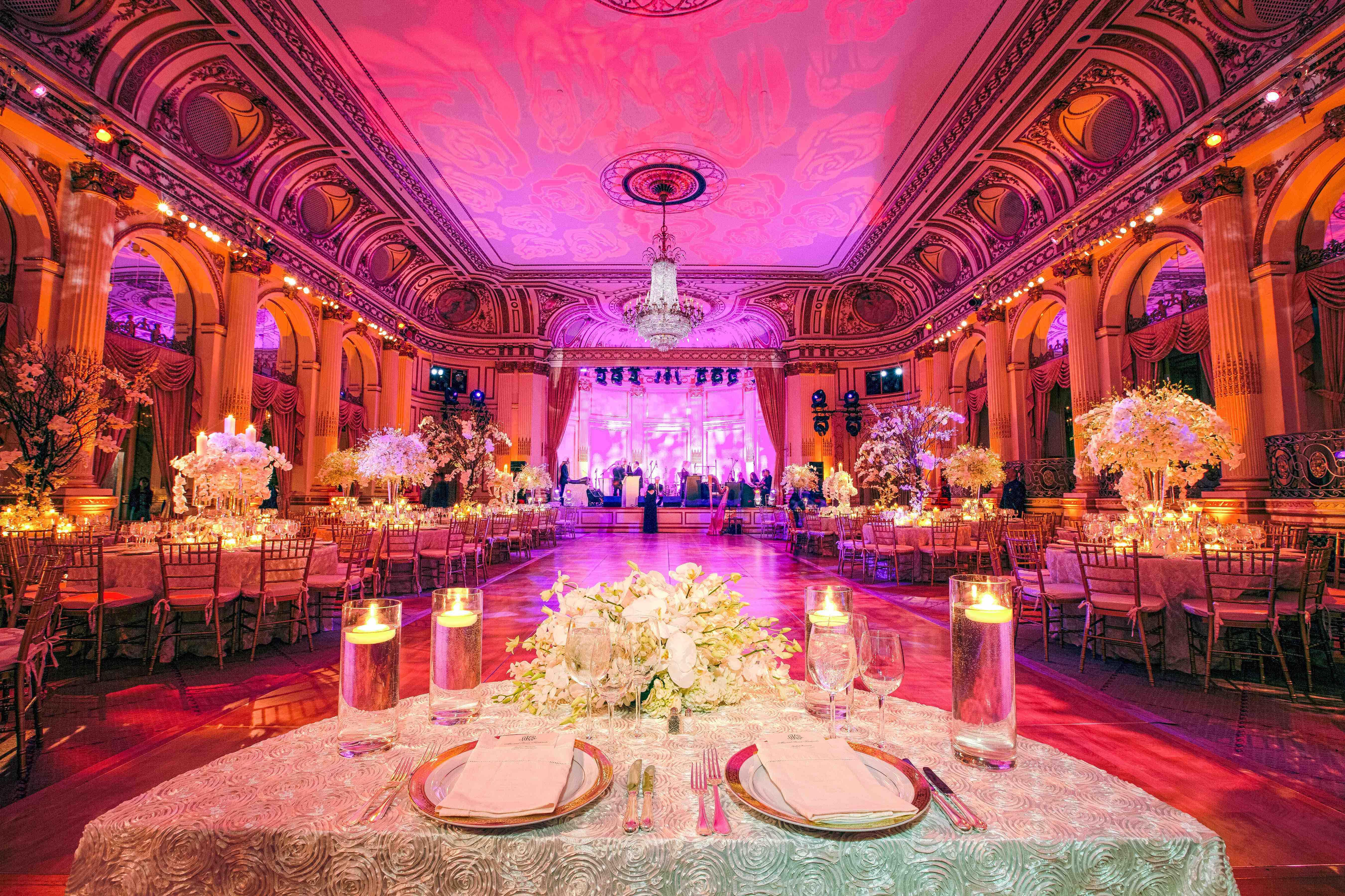 Flower print lighting on reception ballroom ceiling