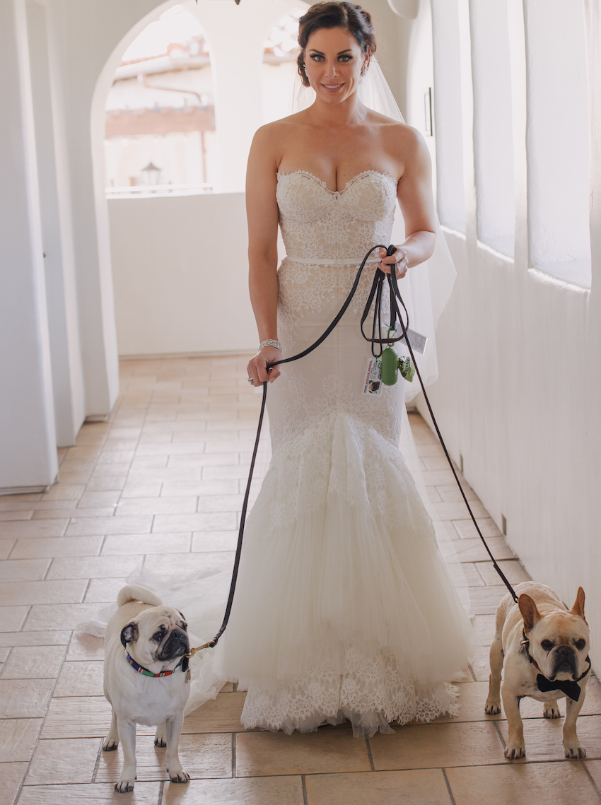Nick Carter wife Lauren Kitt with English bulldog and pug