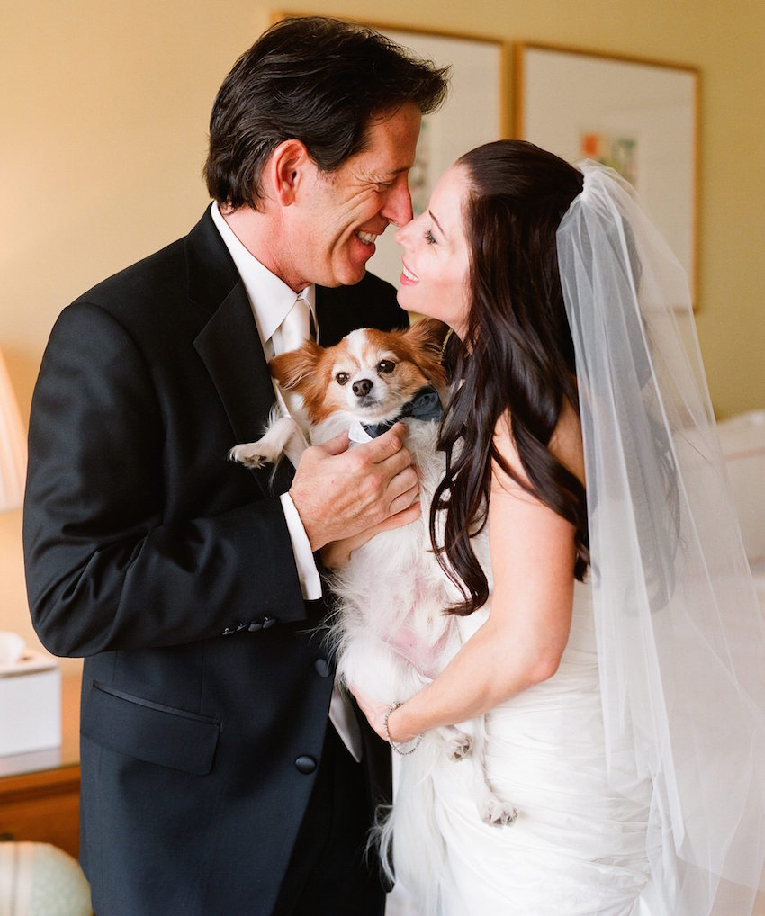 Bride and groom holding little dog at wedding