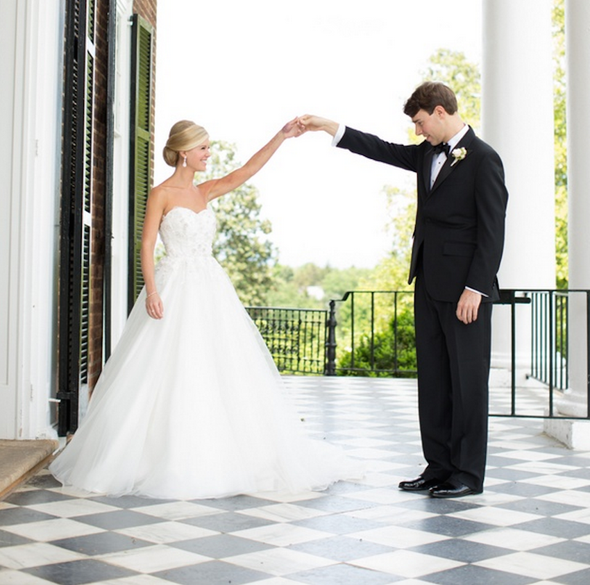 Bride and Groom First Look on Checkerboard Floor