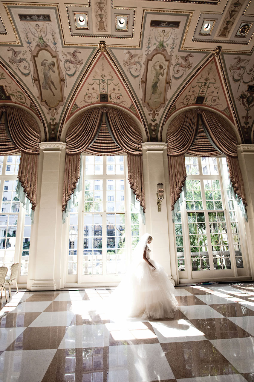 Bride on checker floor at The Breakers