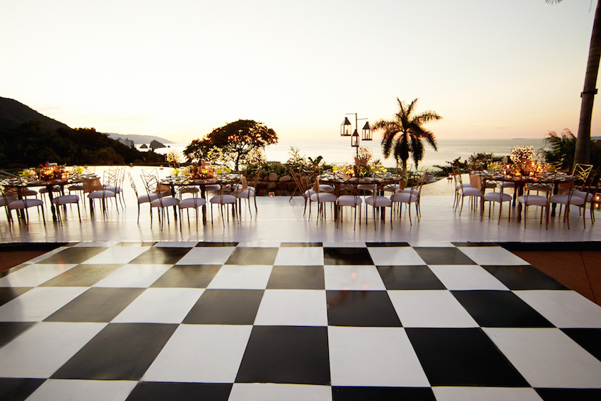 Destination wedding with checkerboard dance floor